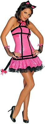 Womens Pink Cat Costume Sexy Pretty Kitty Black Headband Adult Fancy Dress