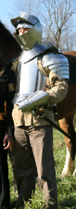 Medieval Knight Arm Armor Steel Costume with Helmet and Gloves
