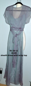 Dusty Blue Gown with Convertible Wrap