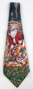 Novelty Christmas Holiday Neck Tie Santa With His Sack - New
