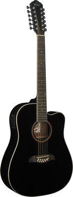 Oscar Schmidt 12 String Acoustic/Electric Guitar, Spruce Top, Black, OD312CEB