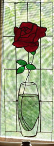 Stained Glass Rose Window Hanging - Features Antique Glass