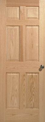 Red Oak 6 panel Interior Door MANY SIZES; slab or prehung Red Oak Panel