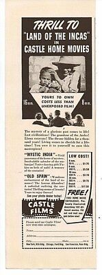 1941 Magazine Advertisement Page Land Of The Incas Castle Home Movies Film Ad ()
