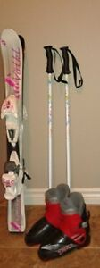 Girl's skis,  boots and poles (3-6yr)