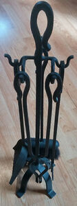 Fireplace Tool Set 5 pieces Black Iron Excellent!