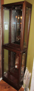 Wood Display Cabinet Hutch With  Glass Side Doors  Inside Lite