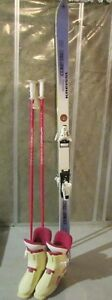 Straight downhill skis, poles, boots 7-7.5
