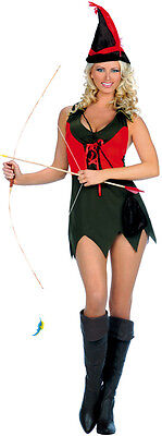 Sexy Women's 3PC Robin Hood Halloween Costume, Hat & Pouch Included. SM & (Robin Hood Kostüme Hat)