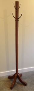 Coat tree, antique, oak, brass hooks: rack or stand with hooks