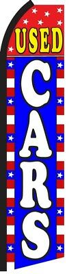 USED CARS R/W/B Auto Dealer Lot Swooper Flag Curved Vertical Feather Banner Sign