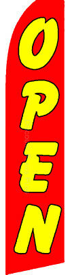 OPEN Red Yellow Sale Swooper Banner Feather Flutter Tall Curved Top Sign -
