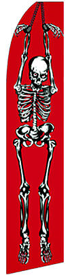 Halloween Skeleton Swooper Banner Feather Flutter Bow Tall Curved Top Flag  Sign ()