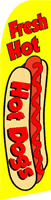Hot Dogs Food Sale Swooper Banner Feather Flutter Bow Tall Curved Top Flag