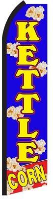 Kettle Corn Blue Flag Korn Popcorn Tall Vertical Feather Bow Swooper Banner Sign
