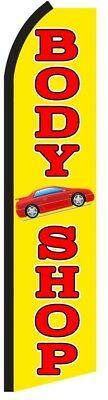 Body Shop Red Yellow Auto Repair Swooper Flag Tall Feather Flutter Banner Sign