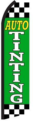 Auto Tinting Green Checkered Swooper Flag Tall Feather Bow Flutter Banner Sign