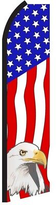 Usa Eagle American Swooper Flag Tall Curved Top Feather Bow Flutter Banner Sign