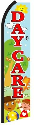 Daycare Preschool School Flag Tall Curved Top Feather Bow Swooper Banner Sign