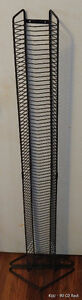 Black Metal Wire 80 CD Rack Upright or Wall Mount Storage Tower