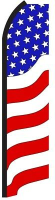 Usa American G Swooper Flag Tall Curved Vertical Feather Bow Flutter Banner Sign