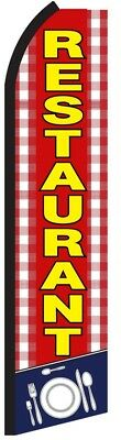 Restaurant Red Swooper Flag Tall Curved Top Vertical Feather Flutter Banner Sign