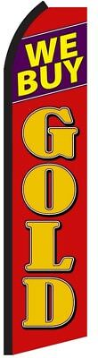 We Buy Gold Red Pawn Swooper Flag Tall Vertical Feather Bow Flutter Banner Sign