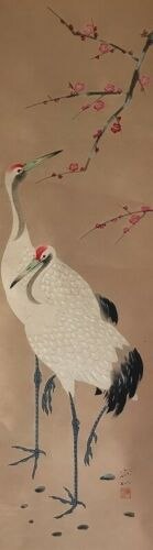 Japanese Hanging Scroll Kakejiku Crane Hand Paint Paper Stamp Antique m012