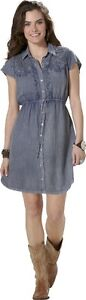Lola P Women's Acid Wash Shirt Dress Medium, New