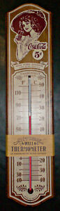 """VINTAGE 1981 COCA COLA WOODEN 5"""" x 22"""" THERMOMETER NEW OLD STOCK"""