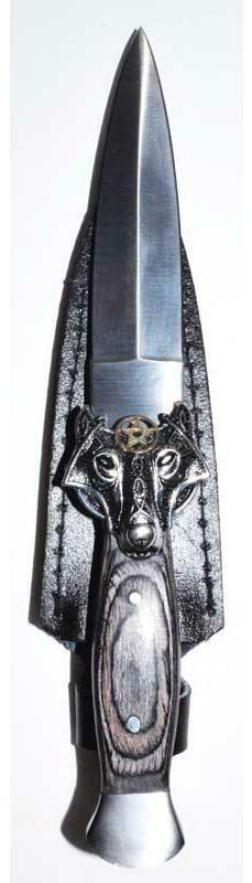 """Celtic Wolf Head Charm Black-Handled 9-1/2"""" Stainless Steel Athame Knife Dagger"""
