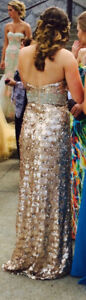 Gold Sequinned Prom Dress $300 obo