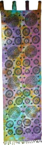 "Large Sun And Stars Cotton Window Wall Decor or Door Curtain 22""x72"" Mystical"