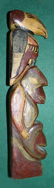 """17 5/8"""" TALL VINTAGE TOTEM POLE - GREAT PAINT - FUNKY CARVING"""