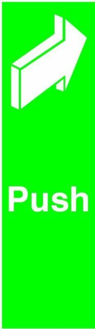 Safety Sign Push 150x50mm Self-Adhesive FX05512S