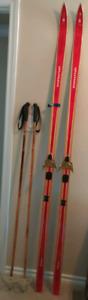 Vintage Splitkein Wood Skis with Poles