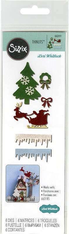 Sizzix Thinlits Dies By Lori Whitlock 6/Pkg Christmas Embellishme 630454252962