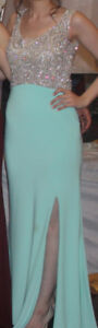 XS/Small Full Length /Long Mint Sequined Dress - Prom
