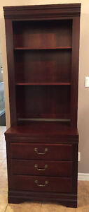 Mint condition- tall Wood shelf, with 3 base draws