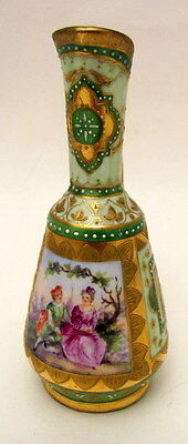 Antique Hand Painted Dresden Vienna Miniature Portrait Vase Ewer 1900