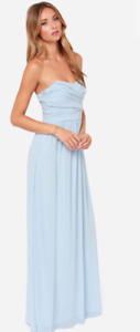 Strappess Pastel/baby blue floor lenght maxi