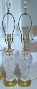 Vintage Crystal Glass Table Lamp w/Hummingbird Porcelain Finials