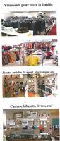Vêtements, livres, jouets, literie, vaisselle, literie