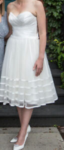 White Tea Length Wedding or Reception Dress