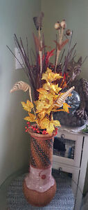 16' Fall pottery decorated vase for sale.