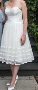 Short or Tea Length White Wedding Dress or Reception Dress