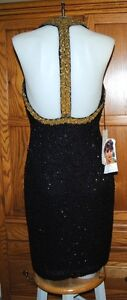 NWT VINTAGE OLEG CASSINI GLAM TROPHY BLACK TIE SILK BEADED DRESS SZ 8 ABOVE KNEE