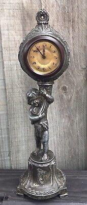 Unusual Antique Cast Metal Figurine Clock