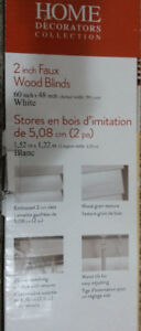 2 inch Faux Wood Vertical Blinds - White - Brand New 60 x 48