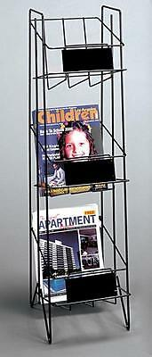 For Sale Floor Magazine Or Lierature Display Rack - 3 Shelf Sign Plate Black
